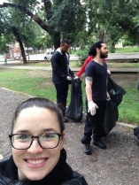 Cleaning up trash in Sarmiento Park with Mike, Melissa and Jason