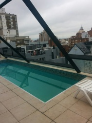 Very excited to find our rooftop pool!