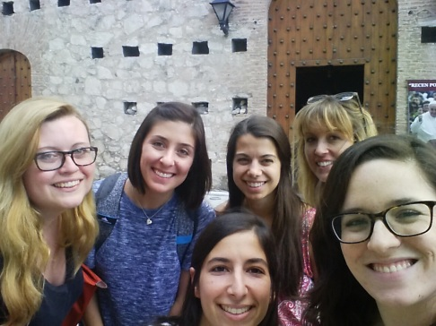 Our Spanish group in front of the oldest church in Cordoba (from left: Natalie, Paige, our teacher Nati, Samantha, Michelle, me)