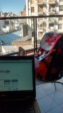 Working from balcony, Badasss Backpack in town
