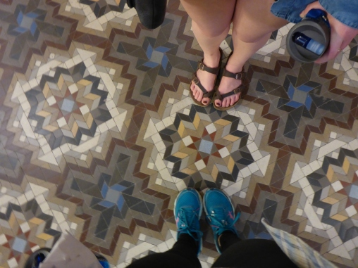 Kelly and I admire the floors outside of the cathedral