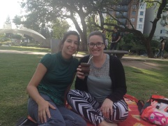 With my Spanish teacher, Nati, having mate in the park.