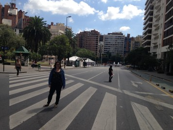 An empty Av. Yrigoyen in preparation for the parades for the day of memory