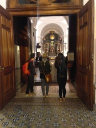 At the entrance of San Ignacio church, the oldest in Buenos Aires