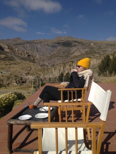 Zoe enjoying coffee at Allkamari
