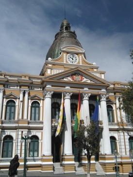 Parliament, La Paz (note the backwards clock!)