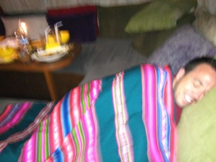 Eric takes a nap after a filling Thai meal at Maphra On
