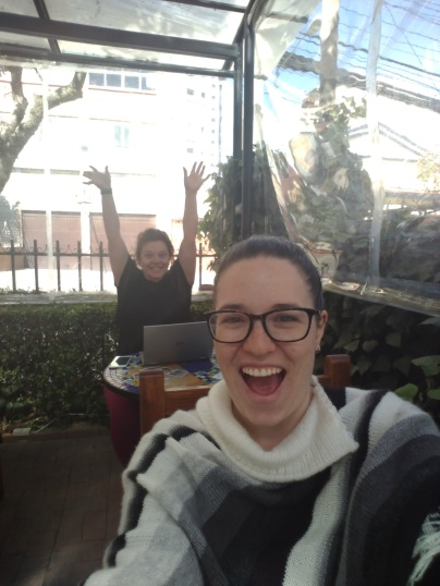 Danielle and I working outside at Cafe Urbano, our workspace for the month