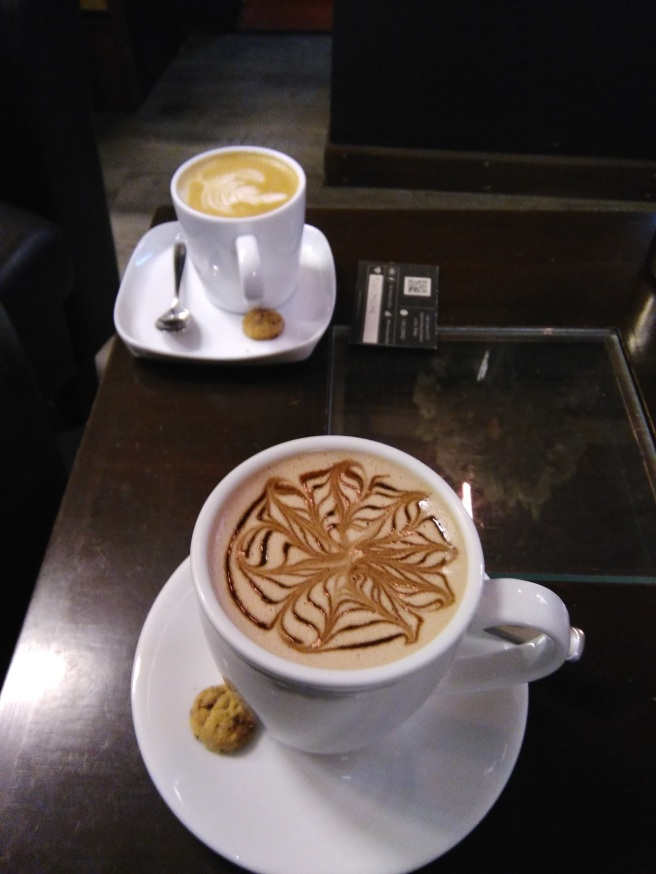 Beautiful latte at the Writers' Cafe