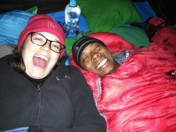 Getting warm in our sleeping bags
