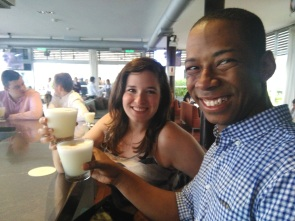 At Cala, on our food tour, Pisco Sours in hand