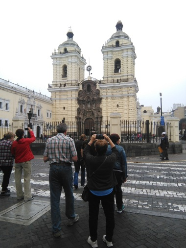 Mom and Dad in front of the cathedral