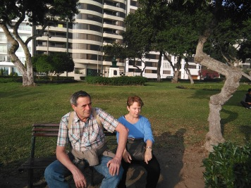 Mom and Dad in Miraflores, by the water!