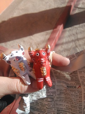 Got myself bulls to protect my future home and bring prosperity. White is for peace, red is for love