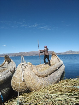 On a traditional Uros boat