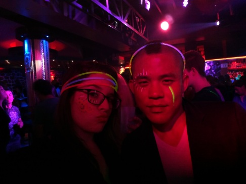 Farewell Party - me and Johnson, complete with face paint and glow bracelets
