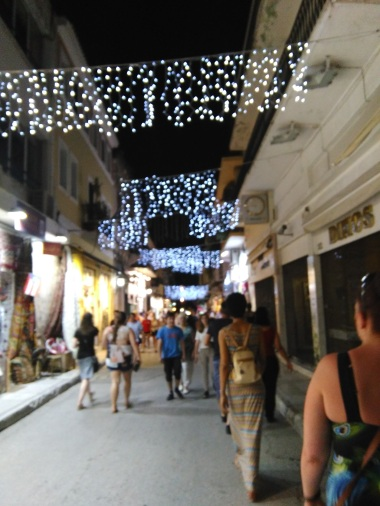 Adrianou Street, Athens - full of shops and pretty lights