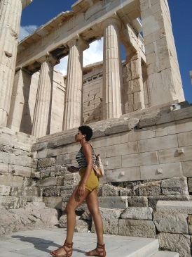 Angela at the Parthenon