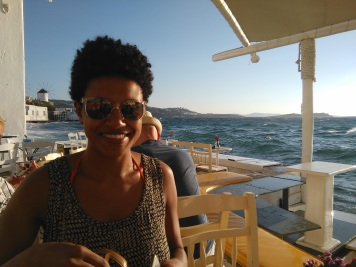 Angela in Little Venice, Mykonos