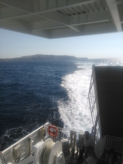 Ferry arriving in Santorini!