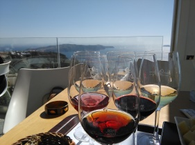Santorini wines overlooking the caldera