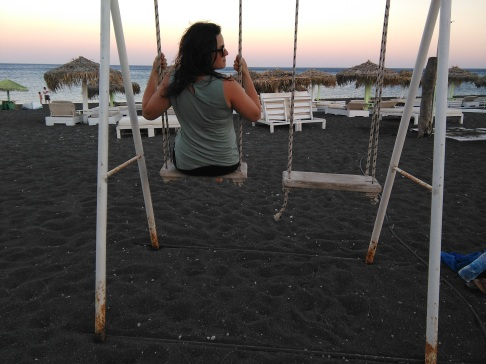Swinging at sunset