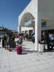 Crazy line at Santorini airport