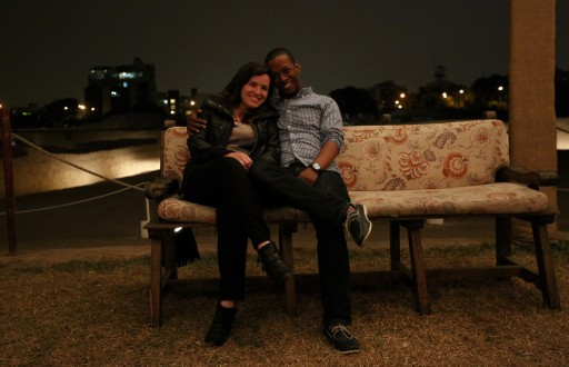 Sean and I at Huaca Pucllana - taken by our new friends