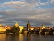 Stunning sunset over the Charles Bridge and Vltava