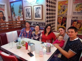 Basically my whole generation of family in Moscow, at Beverly Hills Diner (Yura, Lena, me, Nastya, Ksyusha, Pasha)