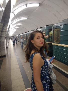 Lena in the Moscow subway, the most beautiful subway system I've seen yet