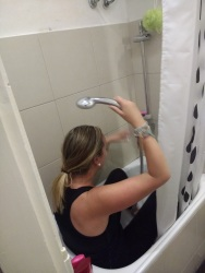 ..And Casey demonstrating the weirdo shower