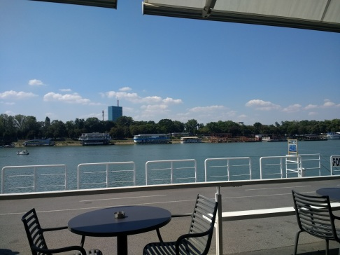 Lunch on the waterfront. Those are party boats on the other side!