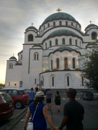 Sean and I in front of St. Sava Church