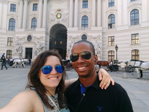 In front of the entrance to Hofburg Palace