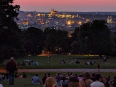 Sunset from Riegrovy Park, with views of Prague Castle