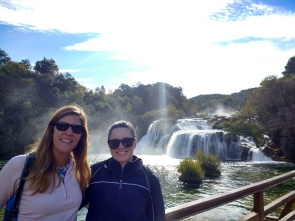 Arestia and I in front of Krka Waterfalls