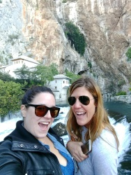 Arestia and I at the Dervish monastery in Blagaj, near Mostar