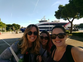 Michelle, Melissa and I ready for our ferry
