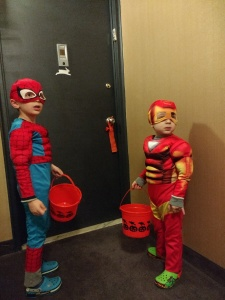 Trick or treating with superheroes