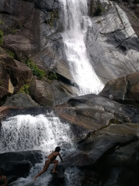 Angela climbing waterfalls