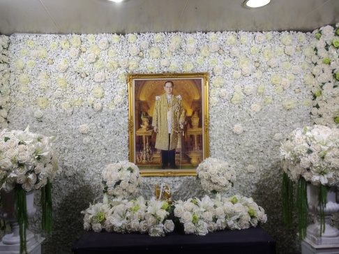 Images of the late King of Thailand were all over the country in rememberance