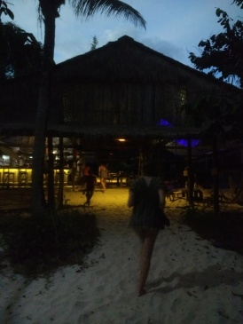 Our hostel by night