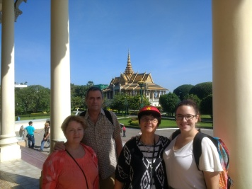 With parents + Galya in front of Royal Palace