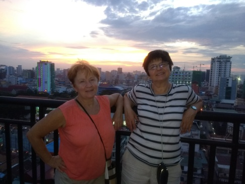 Mom and bestie Galya on my rooftop