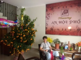 Mandarin trees for good luck were everywhere! Galya is feeling lucky