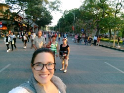 Walking around Hoan Kiem lake's pedestrian zone