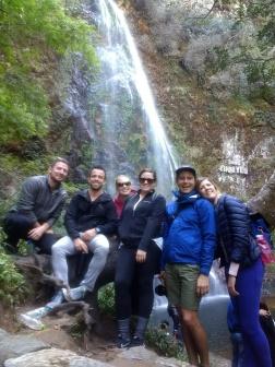 At the waterfall! Max, Eric, Ella, me, Chino, Arestia