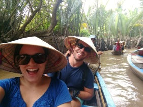 Eric and I and Vietnamese teepee hats
